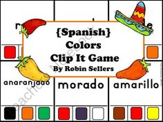 Spanish Colors Clip It Games product from Sweet-Tea-Classroom on TeachersNotebook.com