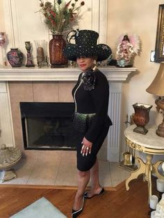 A Christian woman should especially strive to look nice for her husband and family. Black Louise D. Patterson Couture by Joyce Richardson Church Suits And Hats, Women Church Suits, Church Attire, Church Hats, Church Outfits, Love Fashion, High Fashion, Fashion Brands, Church Fashion
