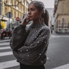 a75afd809b New Winter Sweaters Women Pearl Beading Christmas Gray Pull Warm Lantern  Sleeve Sweater Jumper Pullovers Knitted Sueter Mujer