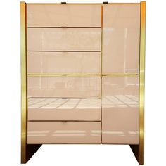 Tall Glass and Brass Dresser by Ello Furniture | 1stdibs.com