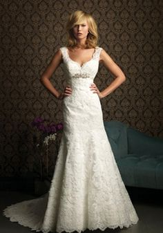 Lace A-line Straps With Beads Floor-length Chapel Train Wedding Dress picture 1