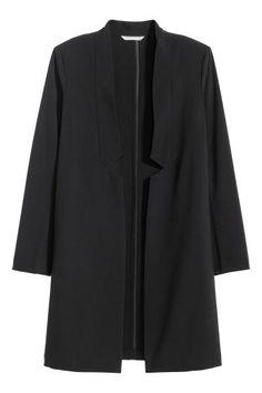 ロングジャケット: ノーボタンのロングジャケット。ストレートスタイル。ストレッチの効いた織物素材。裏地なし。