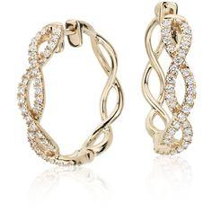 Colin Cowie Colin Cowie Eternal Twist Diamond Hoop Earrings (1 715 AUD) ❤ liked on Polyvore featuring jewelry, earrings, earring jewelry, 14 karat gold hoop earrings, 14k earrings, twist jewelry and infinity hoop earrings