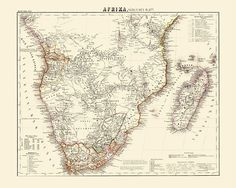 Sub-Saharan Africa Antique Map Reproduction / Old Map Print