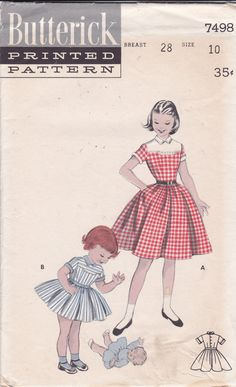 1950's Girls' Full Skirt Dress Vintage Butterick by Ziatacraft
