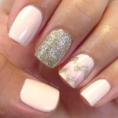 Nude gold glitter chevron nail art design