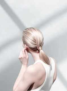 simple fold over & crossed ponytail