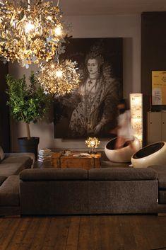 Lámpara colgante de Goldflex® FIORELLA MINI GOLD Colección Fiorella by Slamp | diseño Nigel Coates
