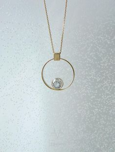 """Yellow gold circle pendant with white topaz """"Helium"""" (He). Collection of """"Elements"""" by """"ivi"""". Etsy Jewelry, Custom Jewelry, Unique Jewelry, Wedding Ring Necklaces, Jewelery, Jewelry Necklaces, Diamond Solitaire Necklace, Pendant Design, Gold Pendant"""