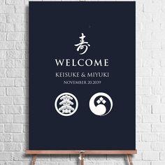 Wedding Welcome Board, Welcome Boards, Signage Design, Logo Design, Japanese Wedding, Japanese Graphic Design, Autumn Wedding, Wedding Photos, Wedding Decorations
