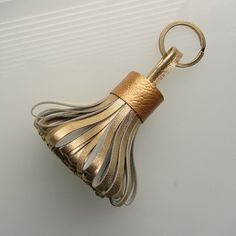 Tassel keychain / tassel keyring in gold tone lambskin handmade by RinartsAtelier