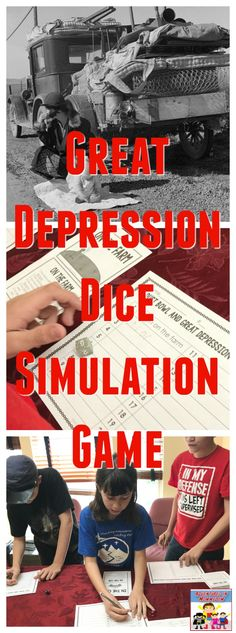 Great Depression Dice Simulation game for middle school The Great Depression is a huge event in modern history. The Great Depression Dice Game is perfect to discuss and learn how it affected families. 7th Grade Social Studies, Social Studies Classroom, Social Studies Activities, History Classroom, Classroom Games, Teaching Social Studies, History Teachers, History Education, Articulation Activities