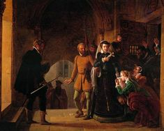 Mary, Queen of Scots is being taken to the place of execution and separated from the faithful followers who had shared her imprisonment. Pai...