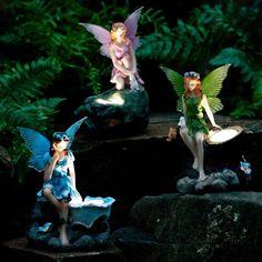 Gartenfiguren Elfen, 3er-Set mit Solar-LED-Lampen   von Gärtner Pötschke