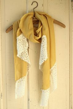 Boho Mustard Scarf With Lace Piecing - Rustic Honey - shoprustichoney.com - country boutique