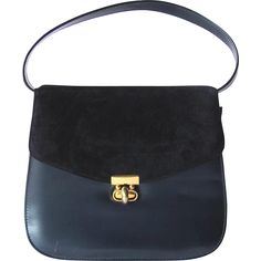 Vintage Two-Tone Blue Handbag in Suede and Vinyl by Life Stride