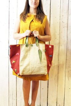 MY BAG  RED Coral  Handmade Italian Leather & Canvas Tote Handbag di LaSellerieLimited su Etsy