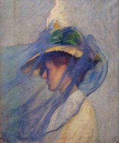 """Edmund Tarbell: """" El Velo Azul"""", 1898."""