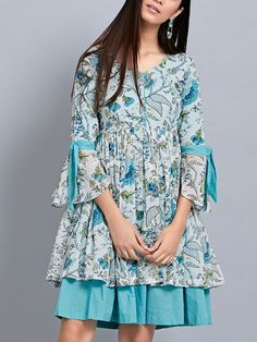 Our shrugs are the perfect strategy to subtly add warmness to effectively shirts while still looking trendy.Blue Printed Cotton Frilled Kurta with Pants- Set of along an occasion look by using a gorgeous signal for getting a beautiful outfit. Kurta Designs Women, Kurti Neck Designs, Dress Neck Designs, Blouse Designs, Cotton Frocks, Cotton Gowns, Sleeves Designs For Dresses, Shrug For Dresses, Frocks For Girls
