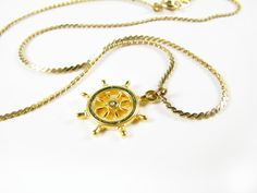 Vintage Ships Wheel Necklace / Ship Helm Necklace / by MyChouchou, $8.50
