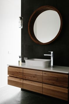 floating reclaimed wood vanity and black bathroom wall. above-counter sink. home. Laundry In Bathroom, Bathroom Renos, Bathroom Interior, Small Bathroom, Vanity Bathroom, Bathroom Wall, Bathroom Modern, Master Bathroom, Master Baths