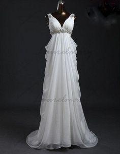 Ivory chiffon wedding dress,Ivory Pregnant Wedding dress with Empire Waist,ivory beading wedding dress. on Etsy, $239.99