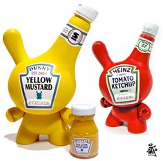 Creative kid robot like Heinz toy art. excellent spin on contemporaneous design and traditional product. /wv/