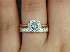 Skinny Flora & Cordelia 14kt Rose Gold Round FB Moissanite Tulip Cathedral Solitaire Wedding Set (Other metals and stone options available)