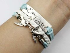 Mint green wax cord and white leather one direction bracelet bird bracelet gift.