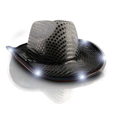 ce1d7c9e7e9 blinkee LED Flashing Cowboy Hat with Black Sequins by New