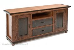 This elegant rustic TV entertainment center is handcrafted from sustainable and barn woods in custom made sizes for cottage, log, mountain, cabin decors. Rustic Country Furniture, Wooden Wine Crates, Rustic Dining Chairs, Tv Entertainment Centers, Forging Metal, Living Room Shop, Reclaimed Barn Wood, Vintage Farmhouse, Furniture Inspiration