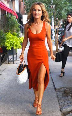 Tangerine dream! The celebrity chef looks ravishing in a tangerine dress as she leaves Soho House in New York City.