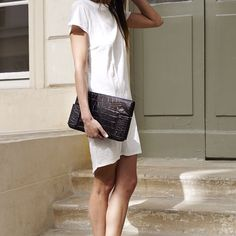 #Minimalist #chic in this Fine Collection T-shirt #dress, from the #summer #sale on the eshop ! #paris #finecollection #outfit #look #fashion #streetstyle #white