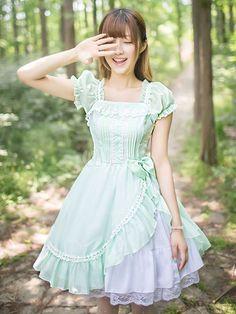 Cute Lolita Dress Chiffon Ruffled Lolita Dress Short Sleeves Lolita Op Dress…