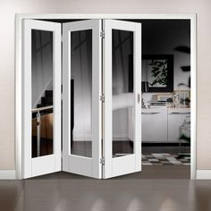 Freefold White Pattern 10 Style Folding 3 Door Set with Clea.- Freefold White Pattern 10 Style Folding 3 Door Set with Clear Glass Height Freefold White Pattern 10 Style Folding 3 Door Set with Clear Glass Height - Internal Folding Doors, Internal Bifold Doors White, Room Divider Doors, Solid Doors, Door Sets, Design Your Home, Interior Barn Doors, Interior Paint, Door Design
