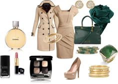 """Beige and Emerald"" by daria-knight on Polyvore"