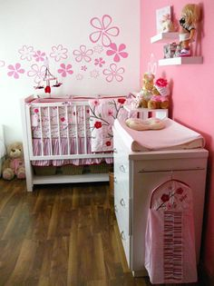 pink flowers decorate this cherry blossom room baby lifestyles