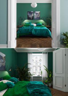 Trendy bedroom scandinavian green home ideas Green Bedroom Walls, Green Rooms, Blue Bedroom, Trendy Bedroom, Bedroom Colors, Bedroom Decor, Green Walls, Bedroom Ideas, Emerald Bedroom
