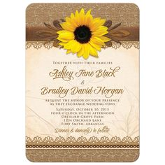 Rustic lace, burlap, wood and yellow sunflower country wedding invitation  #rusticwedding #weddinginvitations #sunflowerwedding #lacewedding