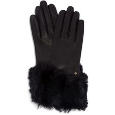 Ted Baker Jullian Round Faux Fur Gloves ($159) ❤ liked on Polyvore featuring outerwear, black and ted baker