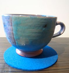 Teal Felt Drink Coaster Set Blue Coasters Fabric by Jackwood, $13.00