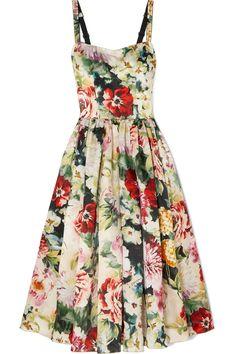 Rose Print Poplin Bustier Dress by Dolce & Gabbana Satin Midi Dress, Bustier Dress, Tulle Gown, Sicilian Women, Silhouette, Silk Satin, Vintage Outfits, Vintage Clothing, Silk Clothing