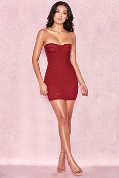 02c3a1a57426 Clothing : Bandage Dresses : 'Azani' Raspberry Bandage + Mesh Cross Weave Strapless  Dress. Short DressesSexy ...