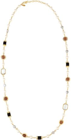 Bead Long Necklace, Neutral colors - perfect accessory for Olivia Pope wardrobe