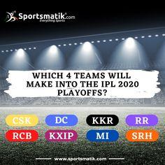 This #IPL2020 season, which 4 teams will qualify for the playoffs? Comment your predictions here... #ipl #ipl2020 #iplt20 #indianpremierleague #iplupdates #dream11ipl #csk #chennaisuperkings #MumbaiIndians #KolkataKnightRiders #DelhiCapitals #SunrisersHyderabad #RajasthanRoyals #RoyalChallengersBangalore #KingsXIPunjab Sports Quiz, Sports Website, Chennai Super Kings, Mumbai Indians, Premier League, Athlete, Coaching, Competition, Seasons