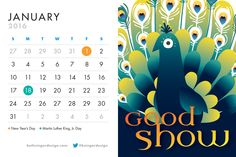 We thought this was a nice welcoming image to start the year. And honestly, this was one of the quickest pages in the calendar to design. This wonderful (and inexpensive) stock illustration just needed some inviting and slightly exotic-looking typography to match our fine feathered friend, and it was done! While it can very rewarding to work through a concept and refine it until it's just right, it's also fun when it all comes together so easily.