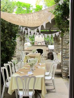 Hanging bunting and burlap for a bridal shower or wedding.
