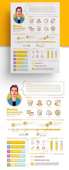 Creative's Quirky Résumé Tells His Story With Eye-Catching Icons, Infographics - DesignTAXI.com