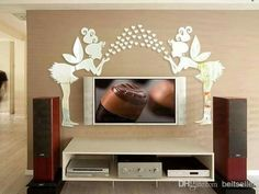 10 The Use of Stickers on the TV Unit Wall to Add a Positive Aura in the Living Room Wall Design, Living Room Decor, Living Rooms, Positivity, Stickers, Furniture, Sticker Ideas, Tv Units, 3d