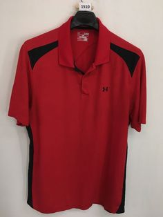 MENS XL UNDER ARMOUR LOOSE HEATGEAR POLO SHIRT RED BLACK GOLF SHORT-SLEEVE #Underarmour #PoloRugby